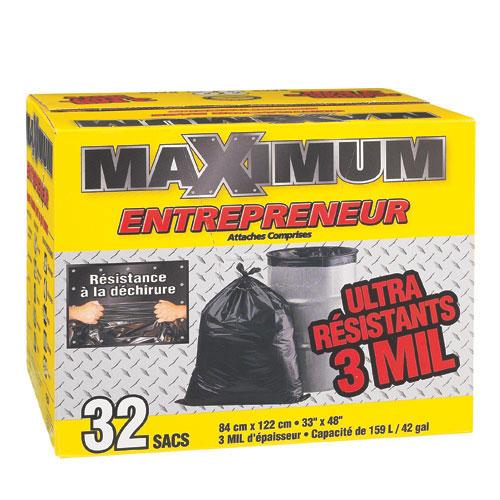Sacs à déchets Maximum, 33 po x 48 po, 3 mil, noir, boîte/32