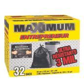 """Sacs à déchets Maximum, 33"""" x 48"""", noir, bte/32"""