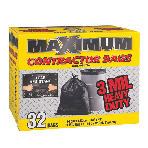 Maximum Garbage Bags - 33-in x 48-in -3 Mil -  Black - 32/Box