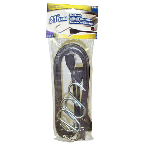 "Rubber Tie-Down with Hook - 21"" - Pack of 2."
