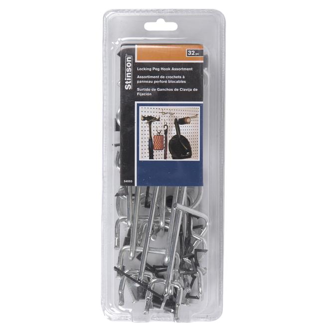 "Pegboard Peg Hooks - 1/4"" - Box of 32 - Aluminum and Steel"