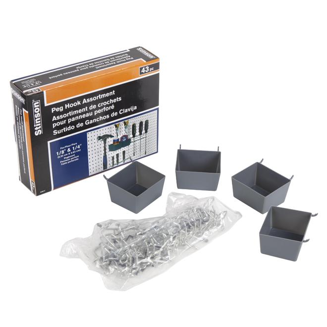 Ensemble de crochets pour panneau perforé, boîte de 43, gris