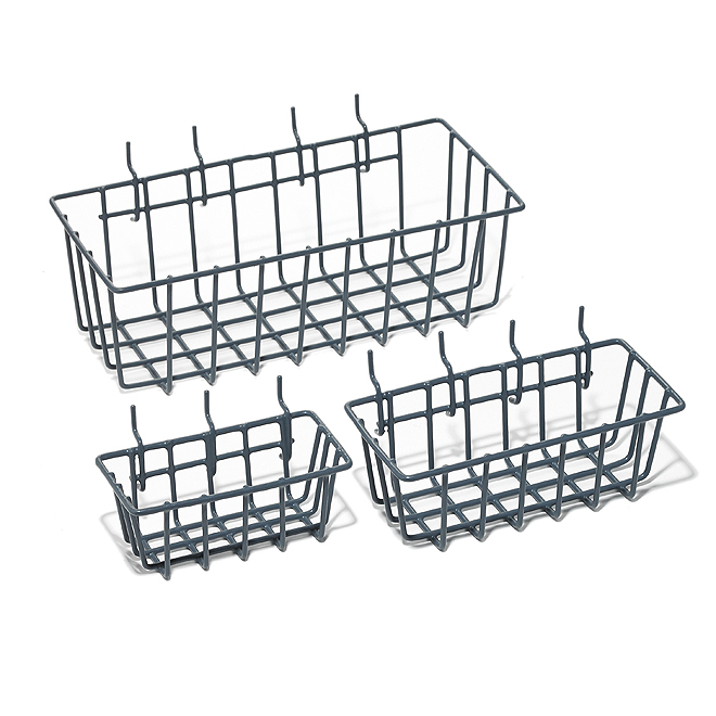Pegboard Basket Set - Pack of 3 - Steel and Plastic