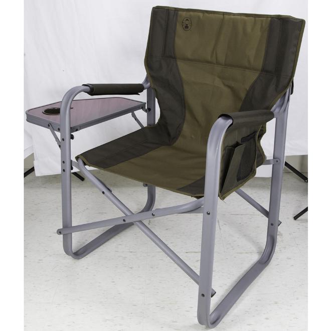 Chaise pliante avec plateau latéral, verte