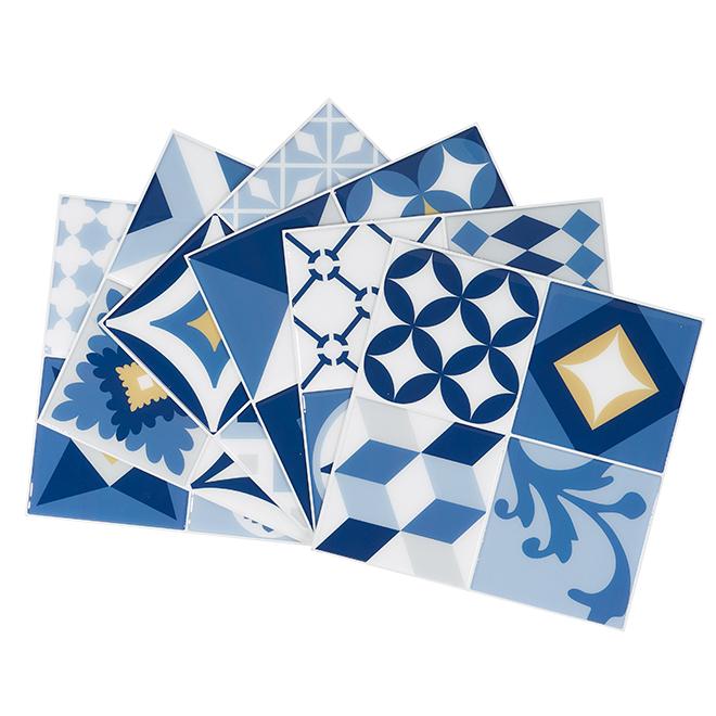 """Tuiles mosaïques autocollantes, 9"""" x 9"""", Vintage Azur"""