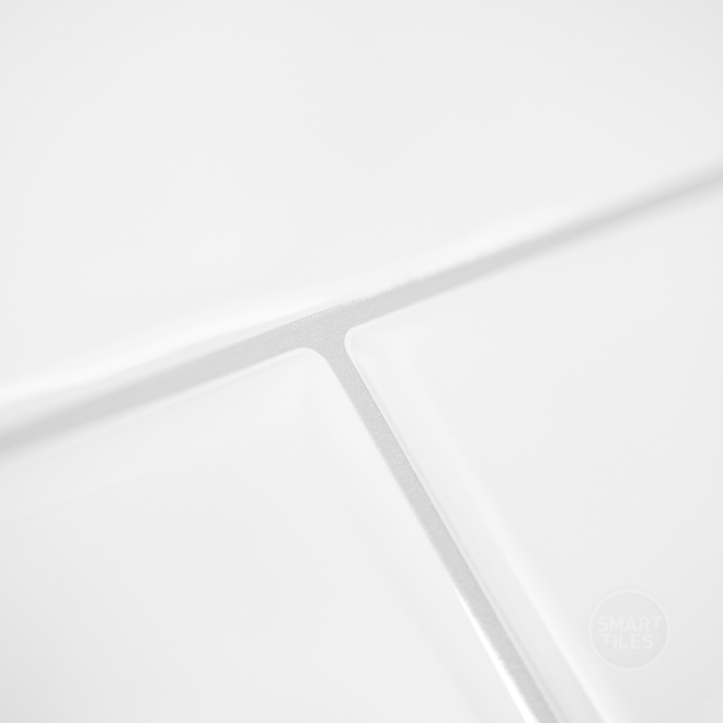 Tuile murale autocollante Oslo par Smart Tiles, blanc, 2,88 pi², 2/pqt