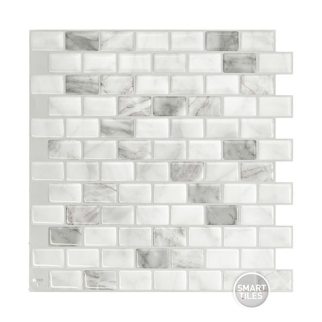 Adhesive Wall-Tile Ravenna - 2.48 sq. ft. - 4/Box - White