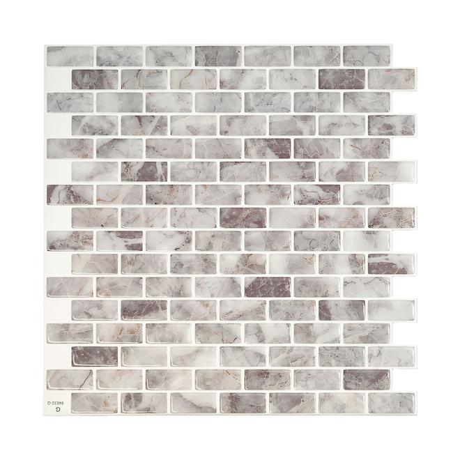 Smart Tiles Adhesive Wall-Tile - 9.94''x9.92'' - Light Grey