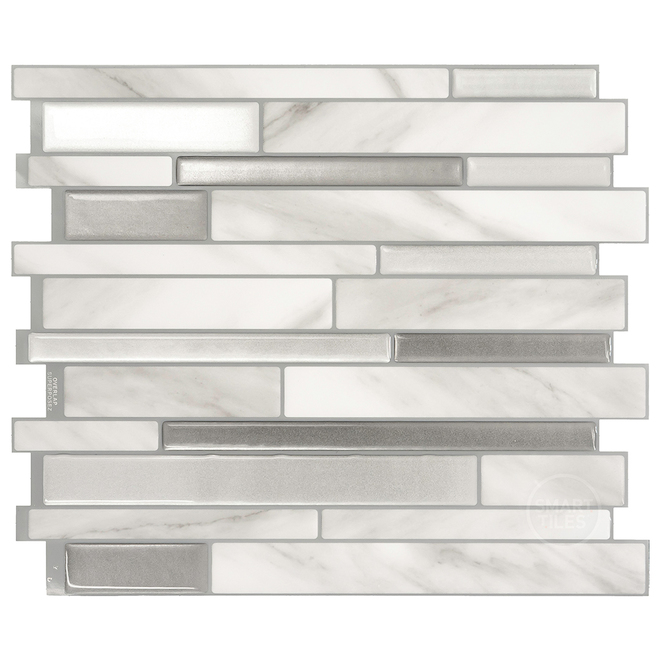 "Mosaique adhésive Smart tiles, 11,55"" x 9,63"", gris"