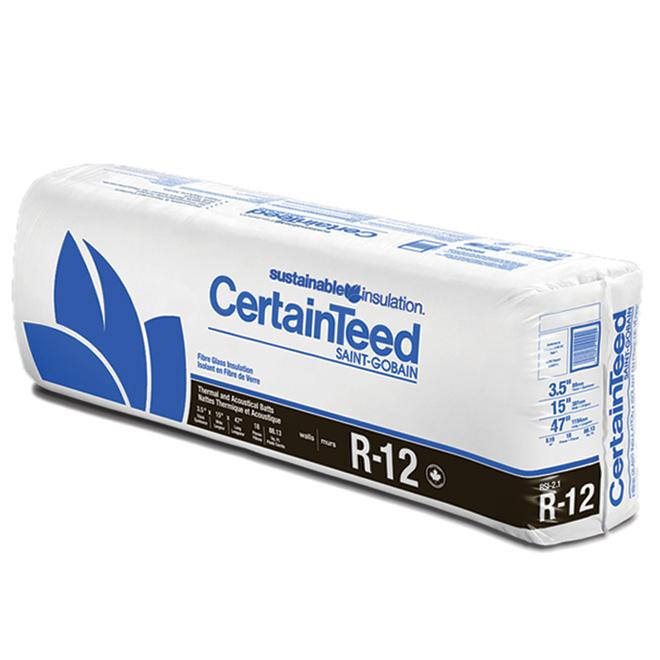 Laine isolante beige R12 de CertainTeed en fibre de verre, 3,25 po x 15 po x 47 pi 117,5 pi²