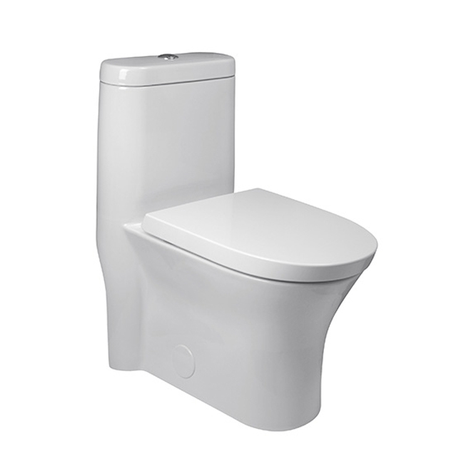 Elongated Front 1-Piece Toilet -Cosette- 3.5 L/4.8 L - White