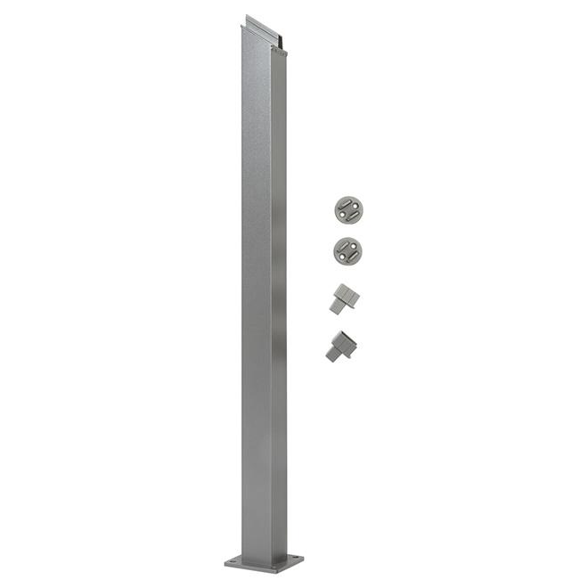 Poteau de rampe d'escalier, 4'' x 38'', aluminium, gris titane