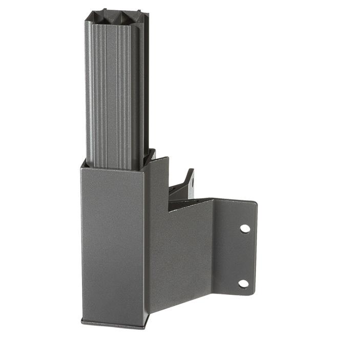 Outside Corner Sidemount Post Bracket - 15'' x 5'' x 5'' - Titanium Grey