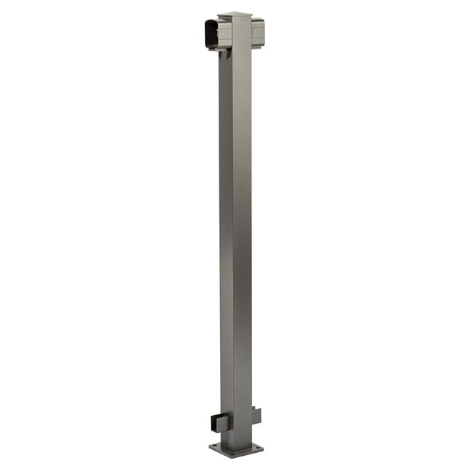 Poteau de ligne pour rampe, 4'' x 4'' x 42'', gris titane