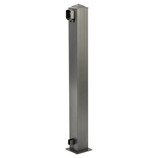 Railing End Post - 6 x 6 x 44 1/2'' - Alum. - Grey