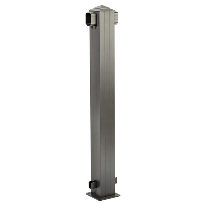 Poteau de ligne pour rampe, 6'' x 6'' x 44 1/2'', aluminium, gris titane