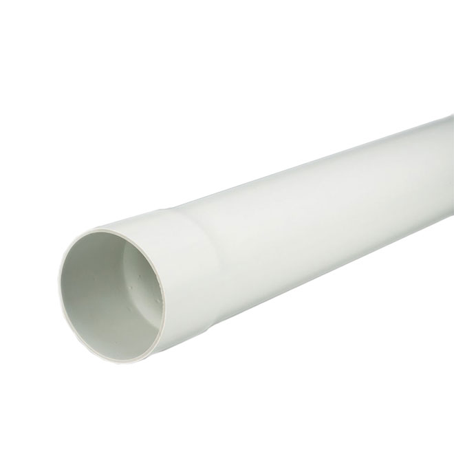 PVC Solid Sewer Pipe - 4'' x 10' - White