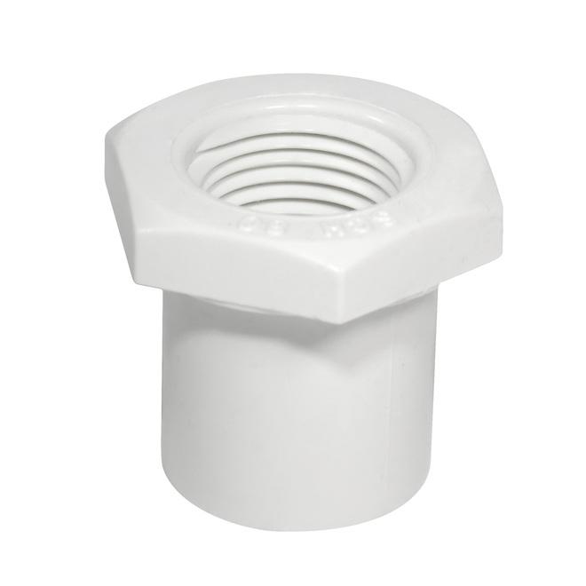 """Réducteur industriel en PVC, 1 1/4""""-1"""", blanc"""