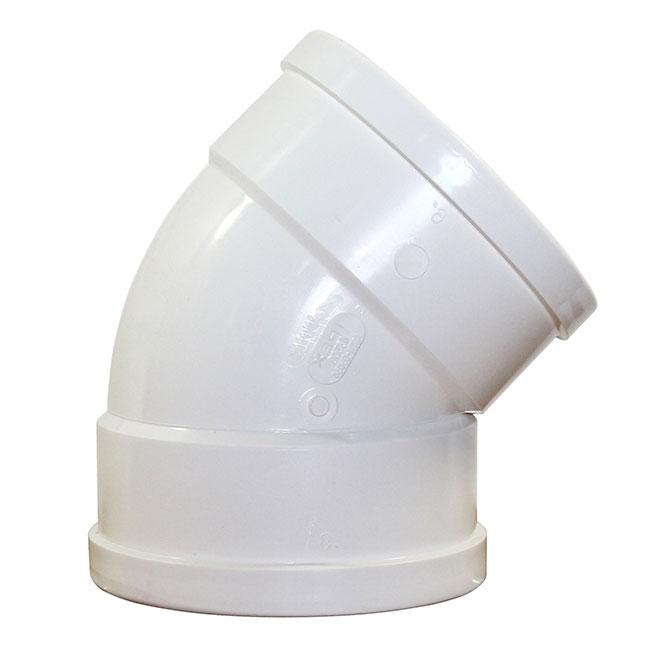 "Coude femelle Ipex(MD), SDR 35, 45 degrés, 5"", blanc"