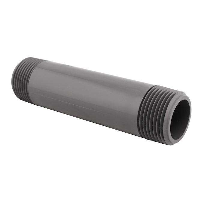 "PVC Nipple - Threaded Ends - Schedule 80 - 3/4"" - Grey"
