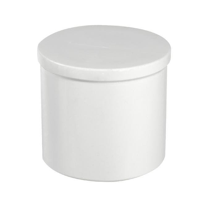"""Bouchon à emboîtement industriel en PVC, 1"""", Blanc"""