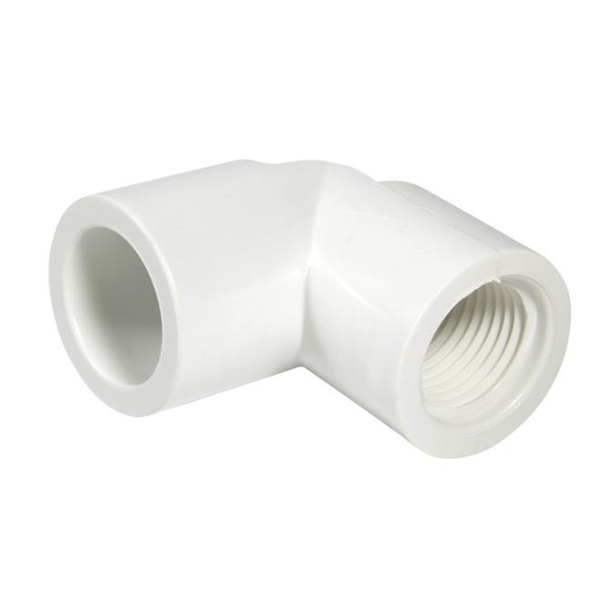 """Coude fileté à 90° en PVC,3/4"""", blanc"""
