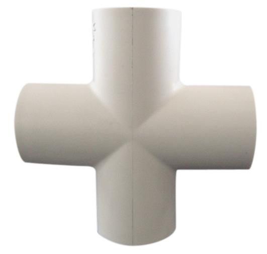 "Raccord en croix industriel en PVC, 3/4"", blanc"
