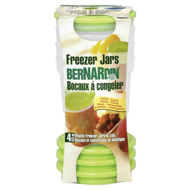 Bocaux à congélation en plastique, vert, 473 ml, 4/pq