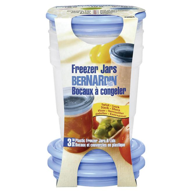 Bocaux à congélation en plastique, bleu, 946 ml, 3/pq