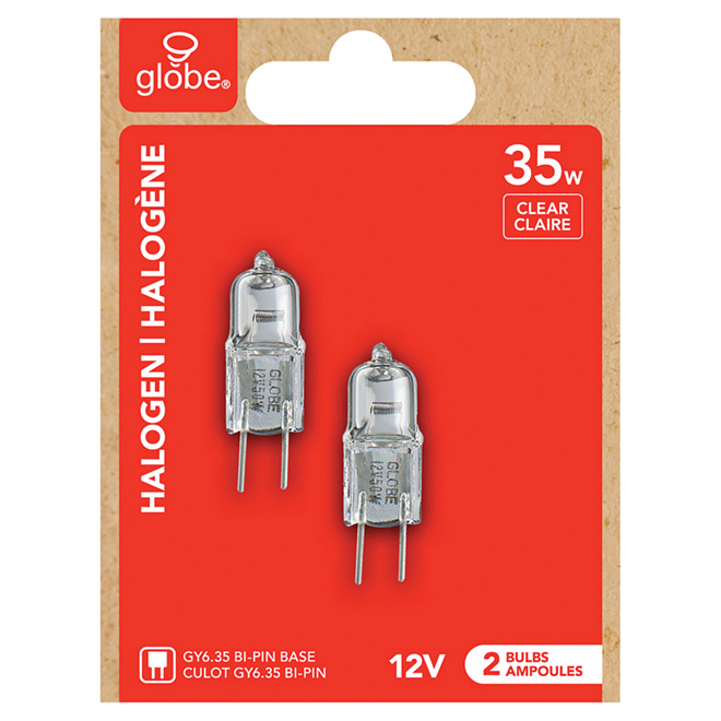 Globe Halogen Light Bulb- T4 JCD- GY6.36- 35W- Clear- 2-Pack