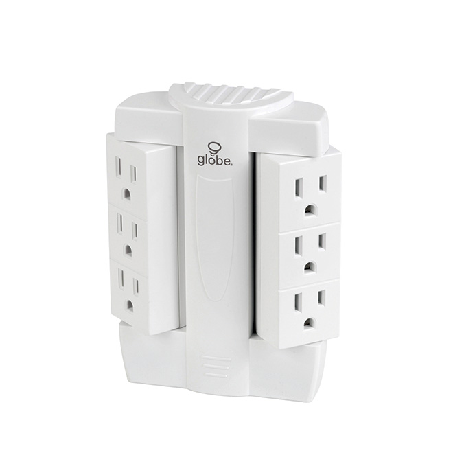 6-Outlet Swivel Wall Tap - White