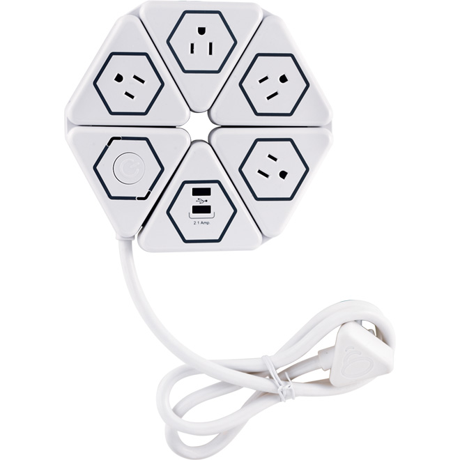 Globe Flexigon Power Strip - 4 oulets/2 USB ports - White