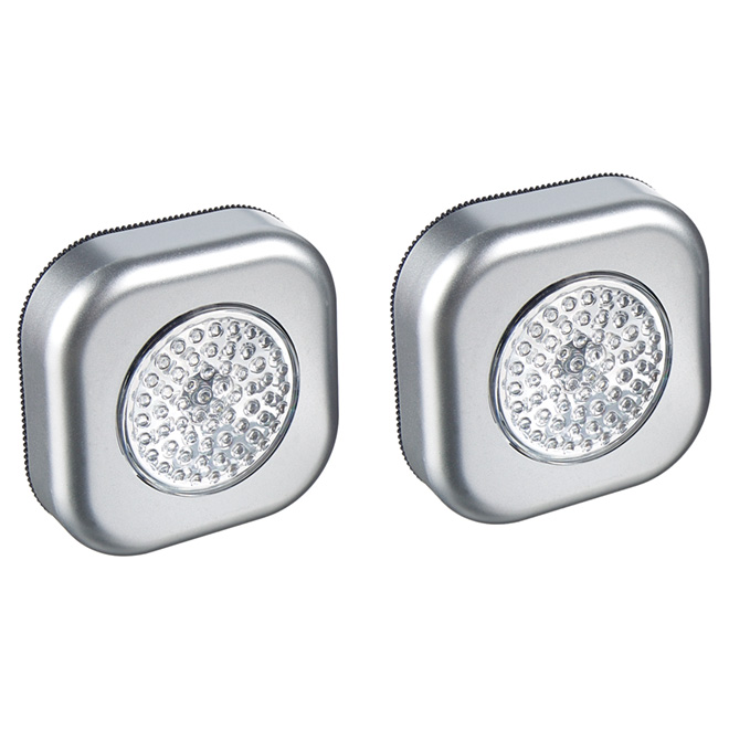 LED Push Night Light - Pewter Finish - 2 Pack