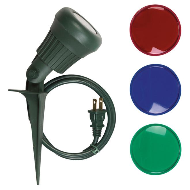 3.4W LED Garden Stake Spotlight - Green/Red/Blue