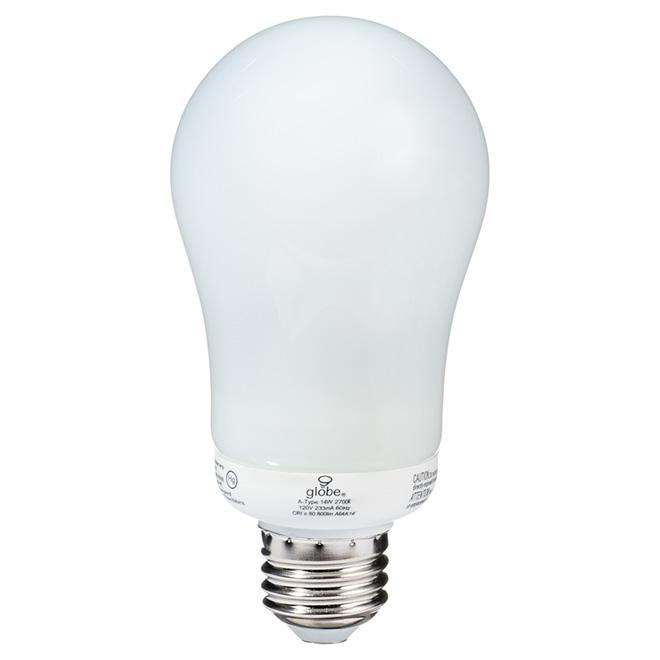 Ampoule fluocompacte T3 type-A 14 W, blanc doux