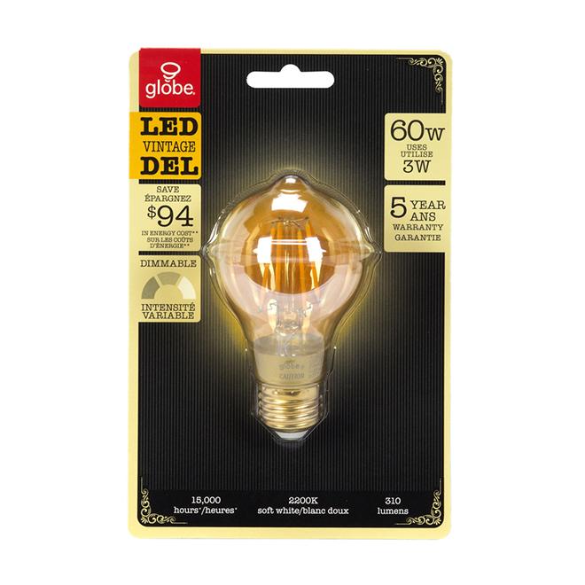 Ampoule DEL rétro, intensité variable 3 W, blanc doux