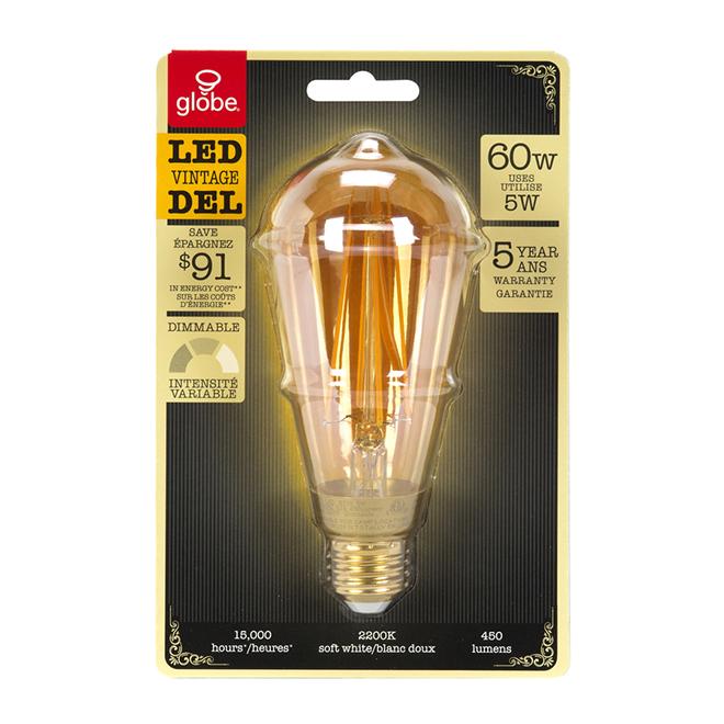Ampoule DEL Vintage ST18, intensité réglable 5 W, blanc doux