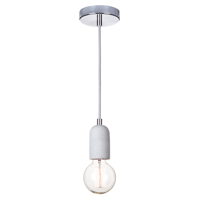 Globe Virginia 1-Light 2-in-1 Pendant Light - Concrete/Chrome