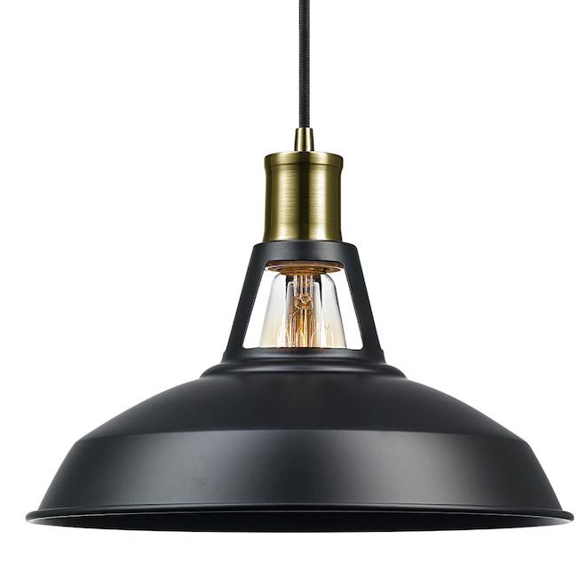 Robin 2-in-1 Barn Style Pendant Light -Metal/Fabric - Black/Brass