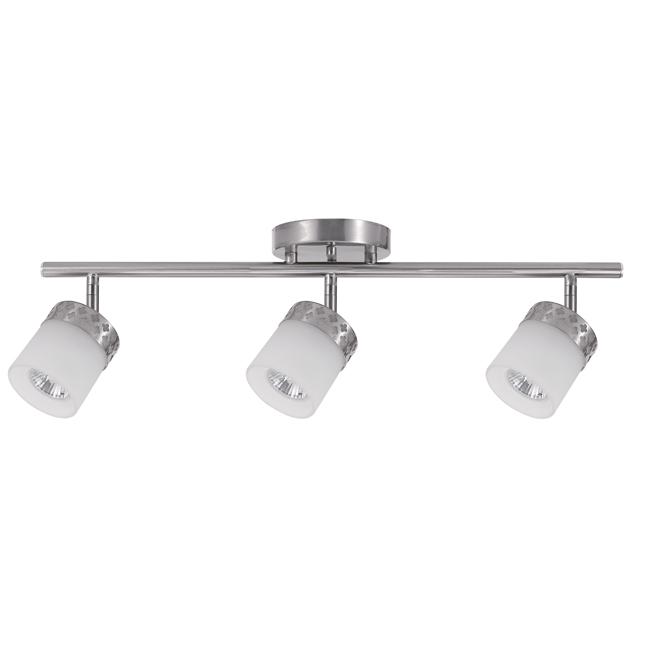 Luminaire sur rail Hanrahan, 3 lumières, trèfles, métal/verre