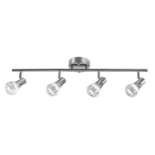 """Luminaire sur rail Mia, 4 lumières, DEL, 30,1"""" x 6,76"""", chrome"""