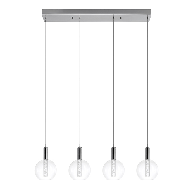 "Globe Alicia 4-Light Pendant - LED - 70"" - Glass - Chrome"