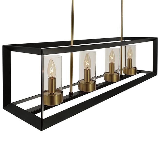 Suspension, 4 lumières, abat-jours en verre, bronze