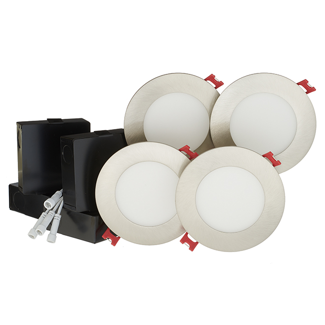 Dimmable Recessed Lights - Slim - 9W LED - Brushed Nickel - 4/Pk