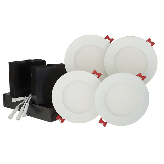 Dimmable Recessed Lights - Slim - 9W LED - White - 4/Pk
