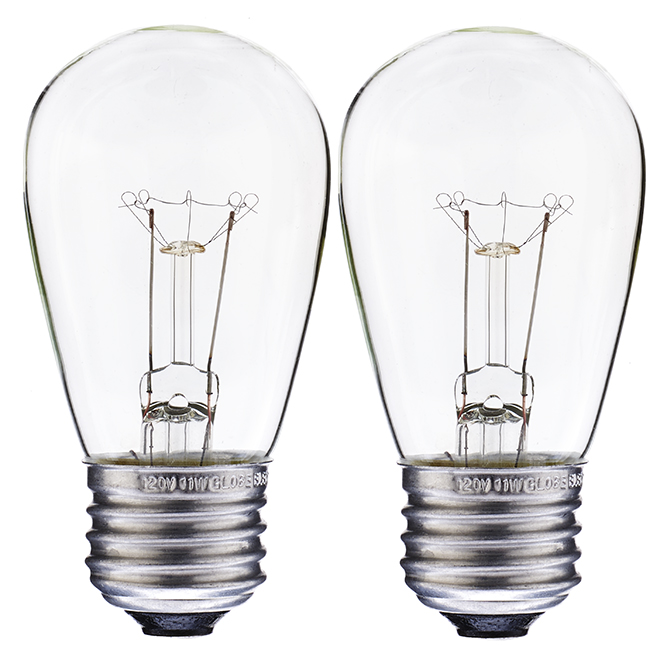 Ampoule rétro, type S14, culot moyen, 11 W, paquet de 2