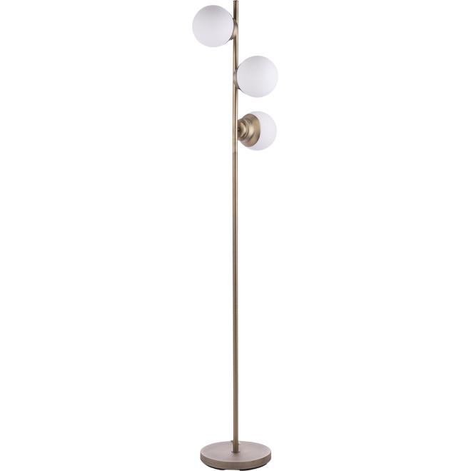 """Portland"" Floor Lamp - 60 W - Brass and Opal"