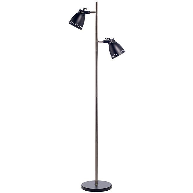 Vintage Floor Lamp - 60 W - Black and Brushed Nickel