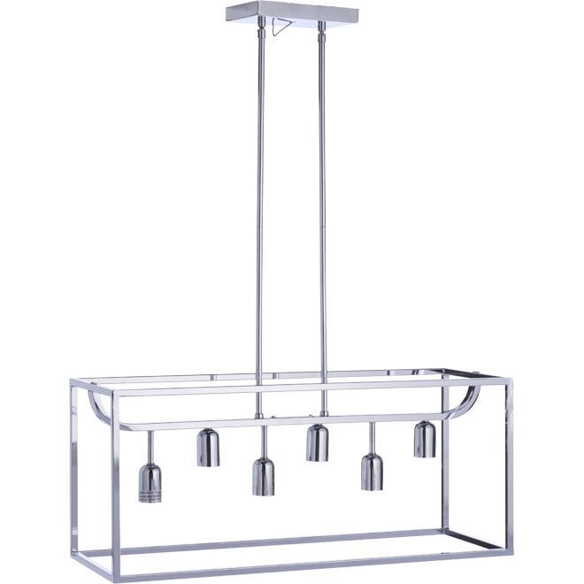 Luminaire suspendu Lyon, 6 lumières, métal, chrome poli