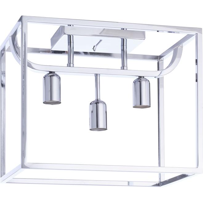 Plafonnier à 3 lumières, 12,5'' x 10'' x 15'', chrome